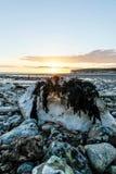 UK-sjösidasolnedgång royaltyfri foto