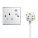 UK socket and cable Stock Photos
