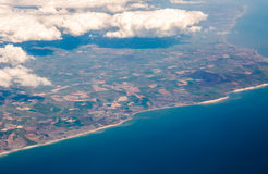 UK south cost cliffs view from top on Eastbourne, Brighton, Engl Royalty Free Stock Images