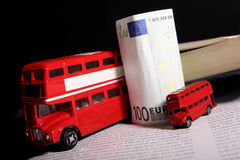 UK souvenirs and eurobanknote Stock Photography
