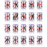 UK sport icons. Collection of different sport icons over a United Kingdom flag and reflected over a white surface Royalty Free Stock Photography