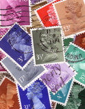 UK stamps background Stock Images