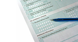 UK tax return form with pen Royalty Free Stock Photography
