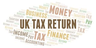 Uk Tax Return word cloud. Wordcloud made with text only vector illustration