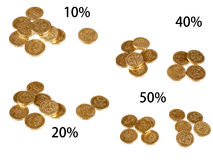 UK taxation percentages, coins isolated Stock Image