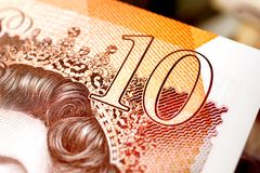 UK Ten Pound Note Detail. Closeup detail of latest polymer United Kingdom ten pound note royalty free stock photography