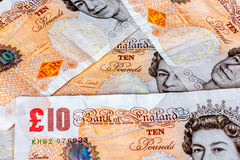 UK ten pound notes. UK ten pounds sterling notes Royalty Free Stock Photo