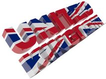 UK Text. Textured with the flag of the UK Stock Image