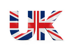 UK Text with Flag. Isolated on white background. 3D render Royalty Free Stock Images