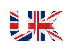 UK-text med flaggan Royaltyfria Bilder
