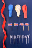 Uk theme party flat lay. Stock Images