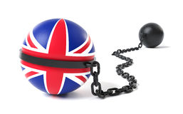 UK tied to a Ball and Chain Royalty Free Stock Photos