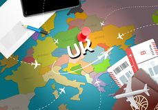 UK travel concept map background with planes,tickets. Visit UK t. Ravel and tourism destination concept. UK flag on map. Planes and flights to United Kingdom royalty free illustration
