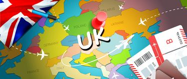 UK travel concept map background with planes,tickets. Visit UK travel and tourism destination concept. UK flag on map. Planes and. Flights to United Kingdom stock illustration