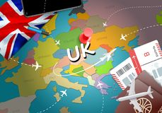 UK travel concept map background with planes,tickets. Visit UK t. Ravel and tourism destination concept. UK flag on map. Planes and flights to United Kingdom stock illustration