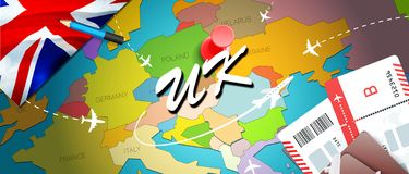 UK travel concept map background with planes,tickets. Visit UK travel and tourism destination concept. UK flag on map. Planes and. Flights to United Kingdom vector illustration