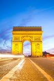 Łuk Triomphe czempiony Elysees Paryż Obrazy Royalty Free