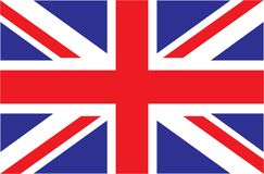 UK. Union Jack. Flag of United Kingdom. Official colors. Correct proportion. Vector illustration. The British flag is flying in the wind. Colorful, national stock illustration
