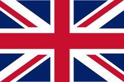 UK. Union Jack. Flag of United Kingdom. Official colors. Correct proportion. Vector illustration. The British flag is flying in th. E wind. Colorful, national stock illustration