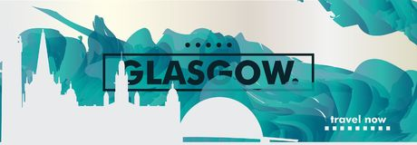 UK United Kingdom Glasgow skyline city gradient vector banner stock illustration