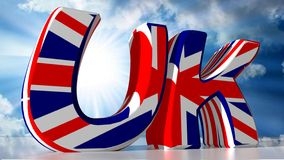 UK - United Kingdom. UK: stays for United Kingdom, with the color of its flag vector illustration