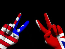 UK And USA Victory 4. A conceptual image of a pair of hands with UK and USA flags, showing what could be victory,freedom and peace finger gestures Stock Images