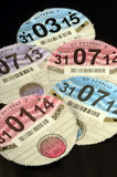 UK Vehicle Road Tax Discs Stock Images