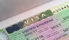 UK visa close up. In light Stock Photos