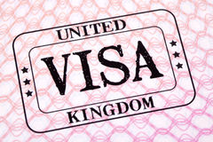 UK visa document immigration stamp passport page close up Stock Image