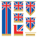 Uk wall hangings. United kingdom vertical wall hangings with gold tassel fringing, isolated on white Stock Images