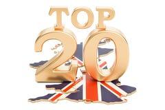 UK wierzchołka 20 pojęcie, 3D rendering Obraz Stock