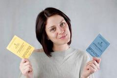 Uk work permission. Bulgarian immigrant holding uk work permission card for bulgarians and romanians stock photos