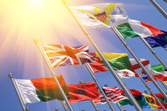 UK and world national flags Royalty Free Stock Photo