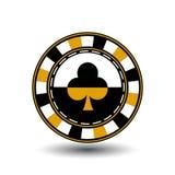 Układy scaleni dla poker żółtego kostiumu klubu yelloy czerń ikona na białym odosobnionym tle Ilustracja EPS 10 Używać Obraz Stock