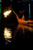 Ukai Cormorant Night Fishing Bird Firelight Gifu Stock Images
