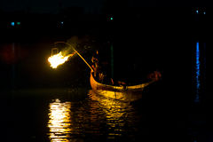 Ukai Fishing Demonstration Gifu River Night Fire Royalty Free Stock Photo