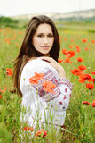 Ukainian girl in field Royalty Free Stock Images
