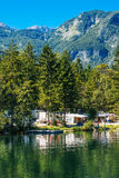 Ukanc camping site on Bohinj lake, Slovenia Royalty Free Stock Image