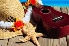 Ukelele e chapéu da praia na doca Foto de Stock Royalty Free