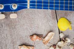 Ukelele en shells Royalty-vrije Stock Afbeeldingen