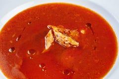 Ukha rojo o sopa rusa tradicional con los mariscos La sopa con los salmones, la patata y la zanahoria sirvió en el cuenco blanco  imágenes de archivo libres de regalías