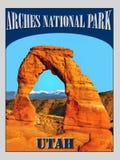 Łuki parki narodowi, Utah, Szyldowy plakat Zdjęcia Royalty Free