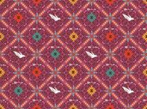 Ukierunkowywa tradycyjnego ornament z ptakiem i różami. Orientalny geometryczny bezszwowy motyw Obrazy Stock