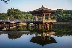 Ukimido Pavilion and the reflections in the lake, Nara, Japan stock photography