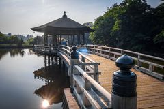 Ukimido Pavillion auf Wasser in Nara-Park, Japan stockfotografie