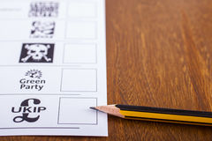 UKIP on a Ballot Paper for the General Election Stock Photo