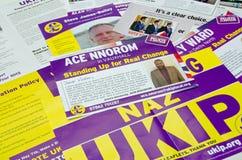 UKIP-riksdagsvalbroschyrer Royaltyfria Bilder