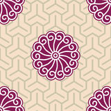 Ukiyo-e Hibiscus Tricube Cloth. Hibiscus Samurai Seamless Background Pattern; Foreground and background patterns are separate layers and usable on their own Stock Photography