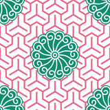 Ukiyo-e Hibiscus Tricube Cloth. Hibiscus Samurai Seamless Background Pattern; Foreground and background patterns are separate layers and usable on their own Royalty Free Stock Photo