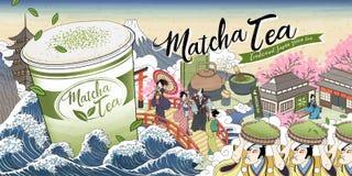 Ukiyo-e Matcha teannonser royaltyfri illustrationer